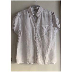 August Silk White Linen Blouse Size L